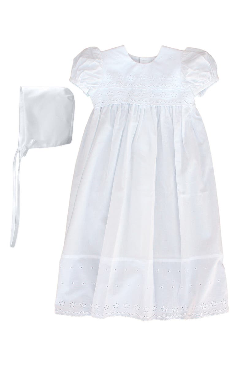 LITTLE THINGS MEAN A LOT Cotton Eyelet Christening Gown, Main, color, WHITE