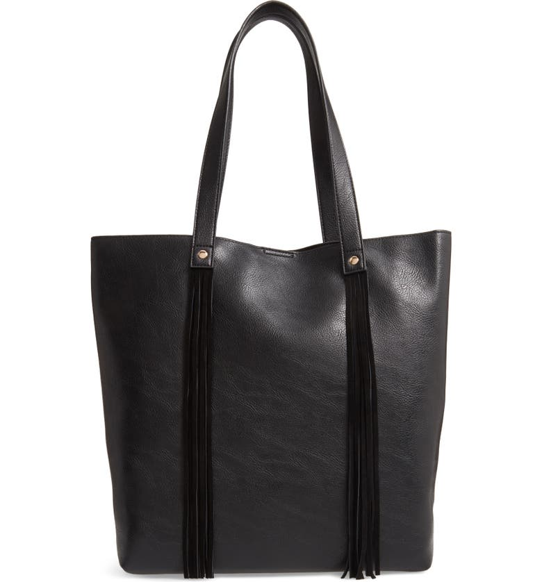 SOLE SOCIETY Dunne Faux Leather Tote, Main, color, 001