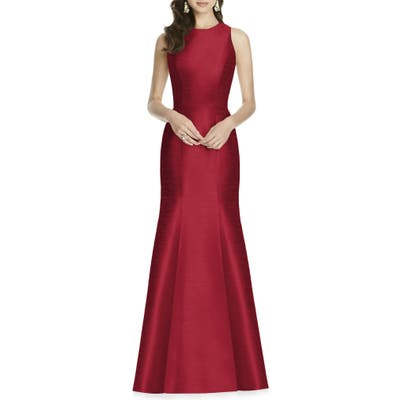 Plus Size Alfred Sung Dupioni Trumpet Gown, Red