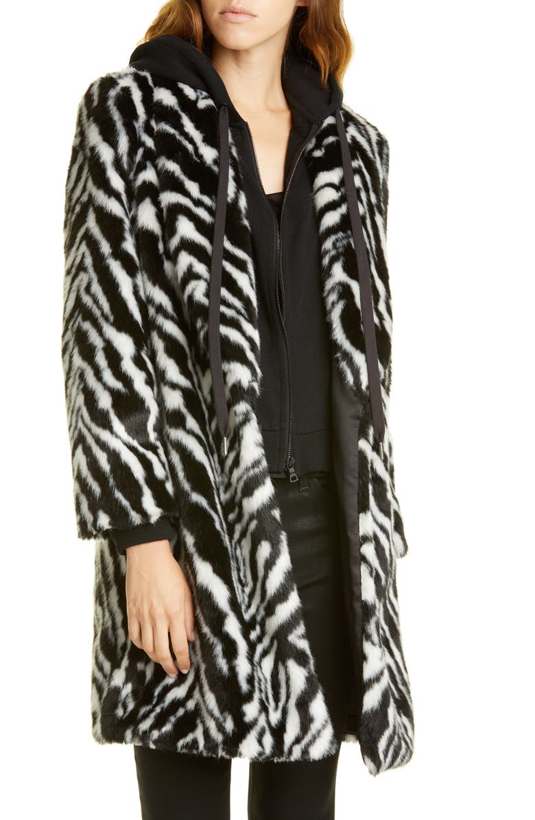 ALICE + OLIVIA Kylie Faux Fur Coat with Removable Hoodie, Main, color, BLK/ WHITE