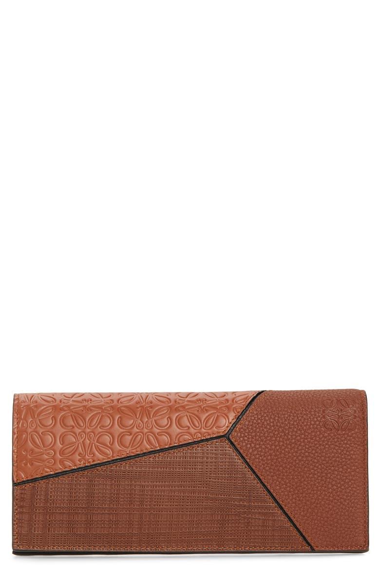 LOEWE Long Puzzle Bifold Leather Wallet, Main, color, COGNAC