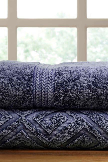 Image of Modern Threads Denim Deco Diamond Denim Washed Bath Towel - Set of 2