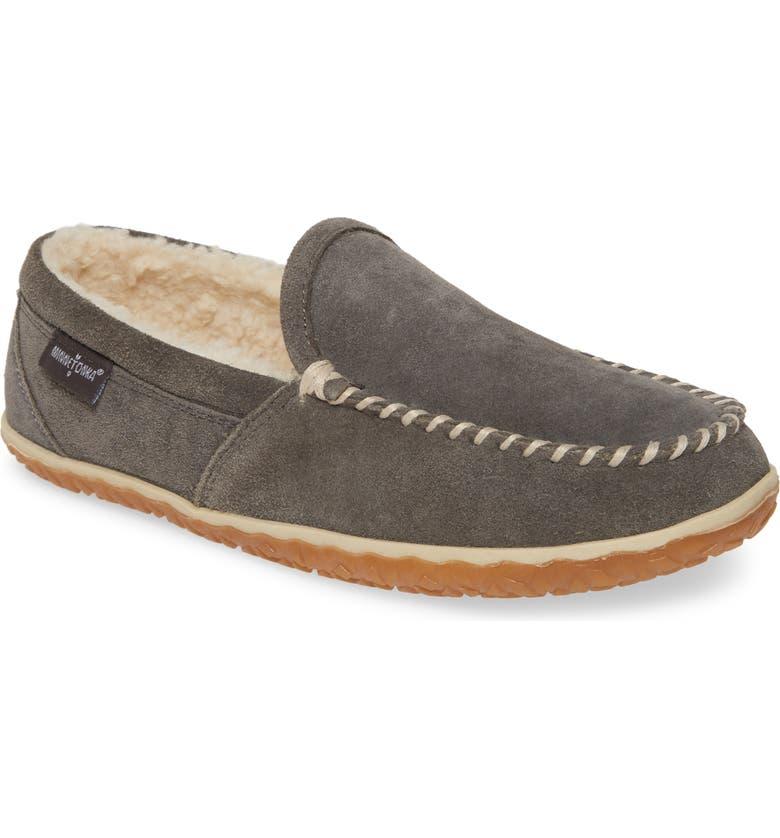 MINNETONKA Tilden Moccasin Slipper, Main, color, GREY SUEDE
