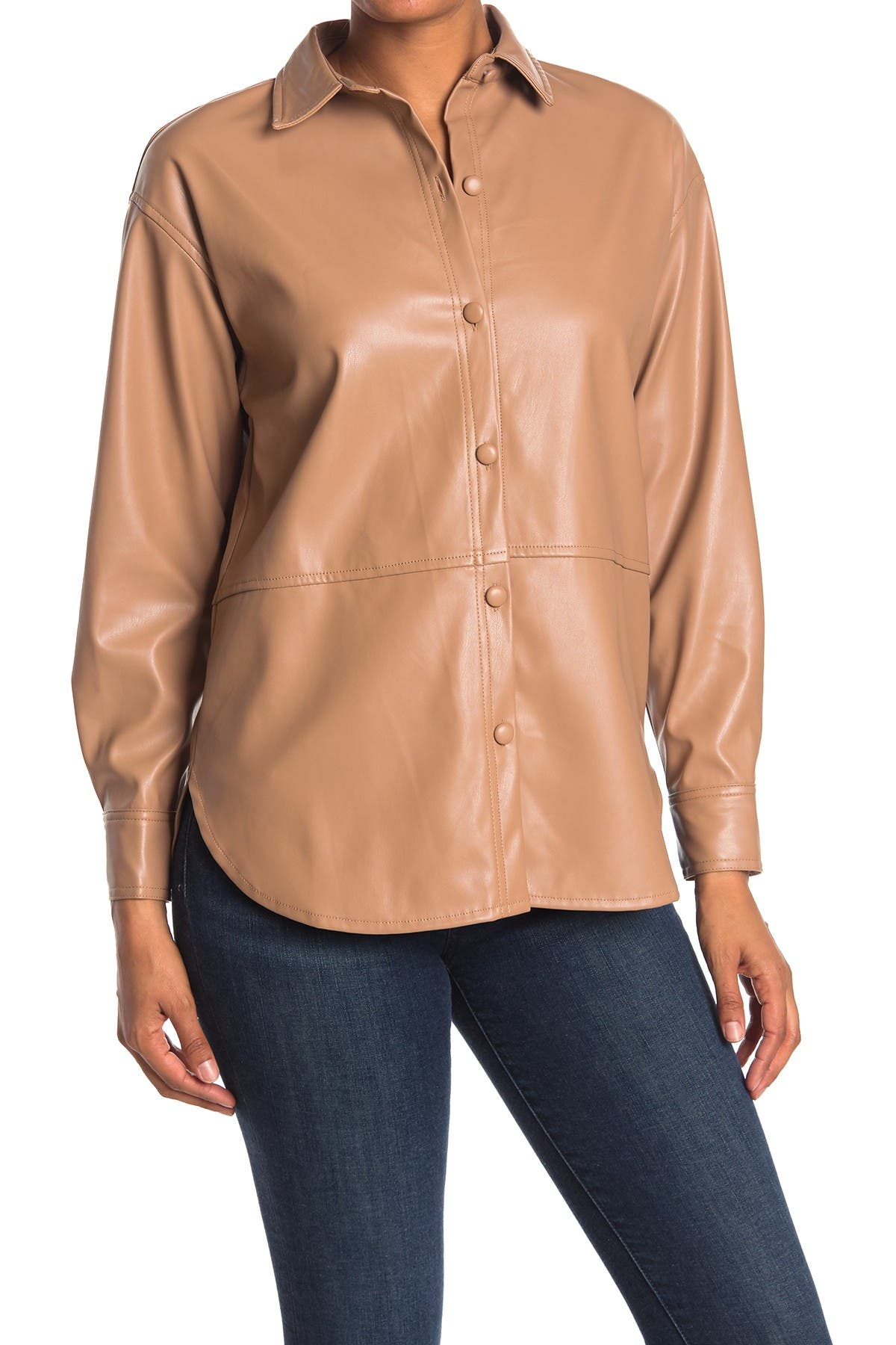 Image of Elodie Faux Leather Shirt