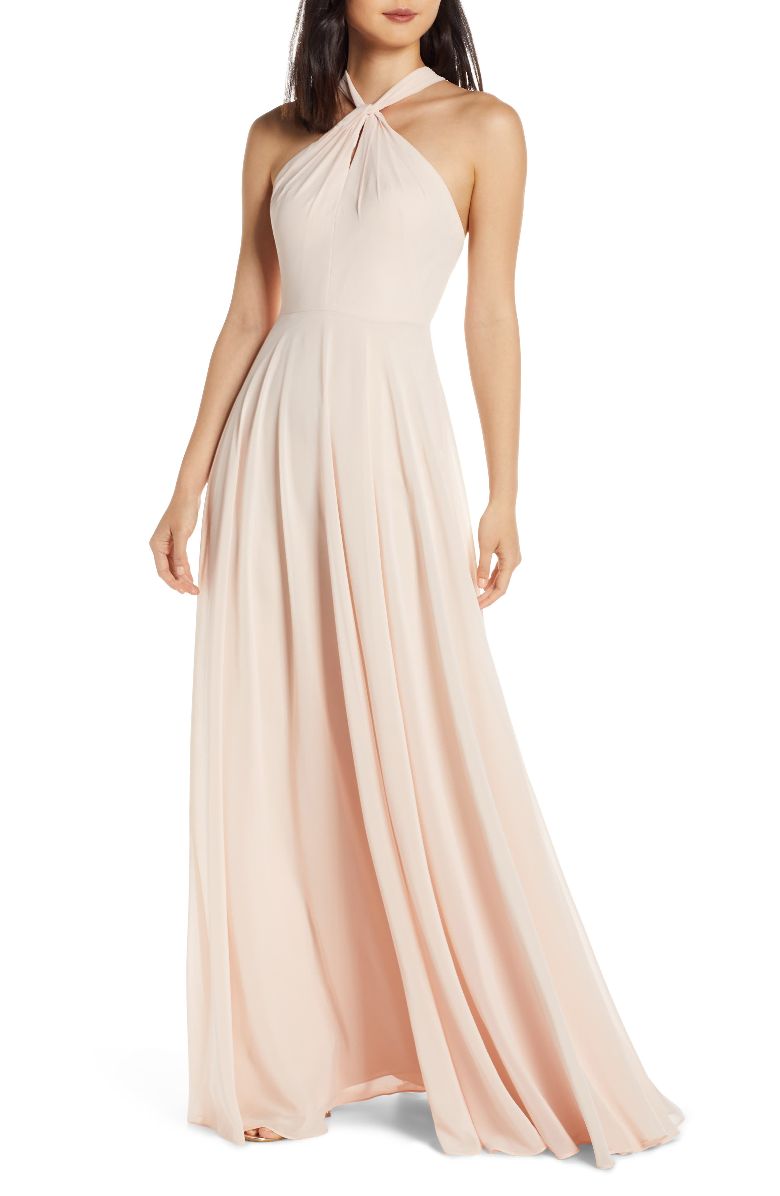 Jenny Yoo Halle Halter Evening Dress, Pink