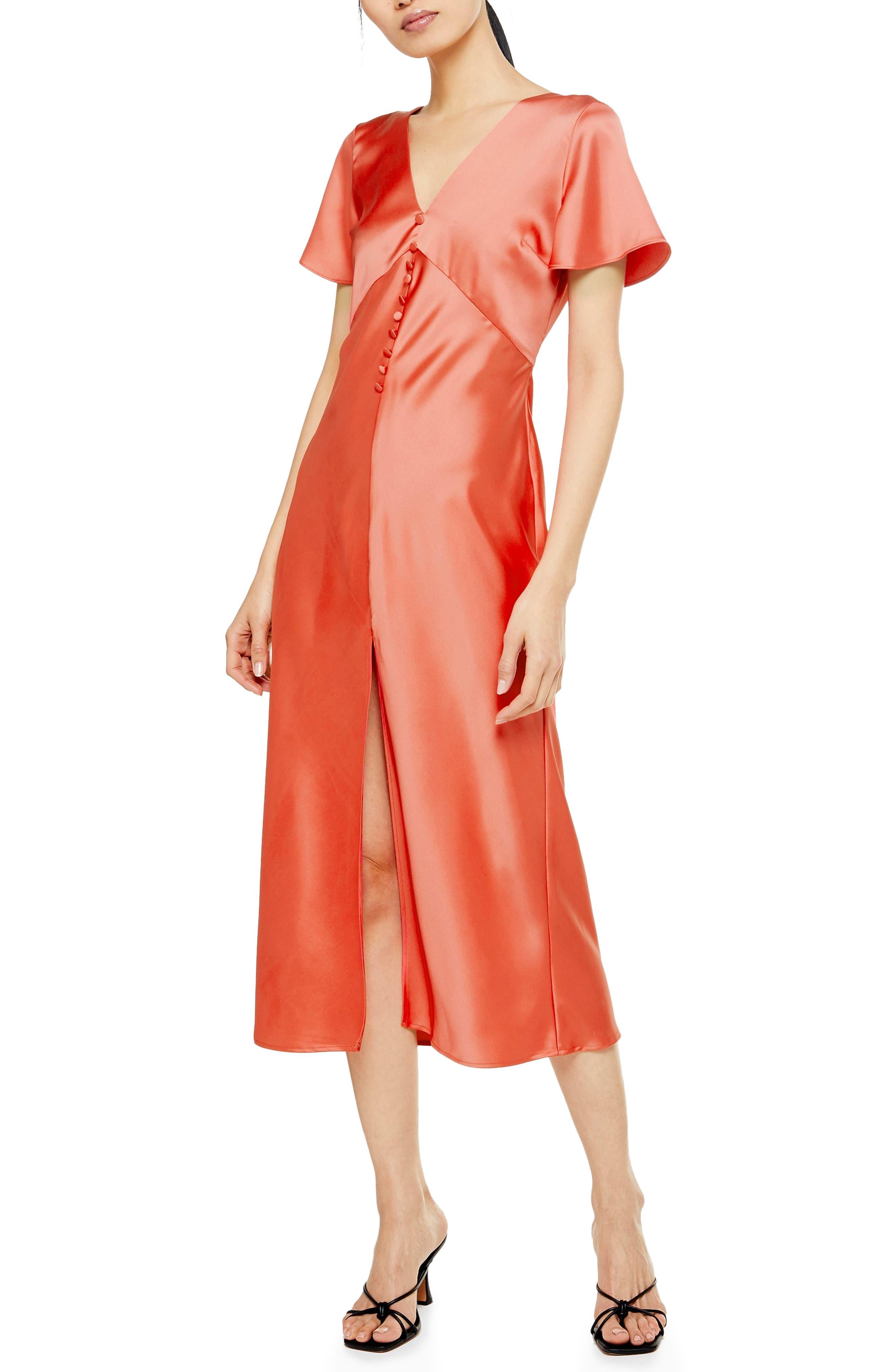 Topshop Angel Sleeve Bias Cut Satin Midi Dress, US (fits like 2-4) - Coral