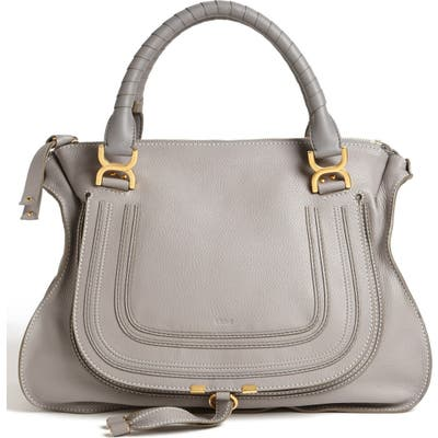 Chloe Large Marcie Leather Satchel - Grey