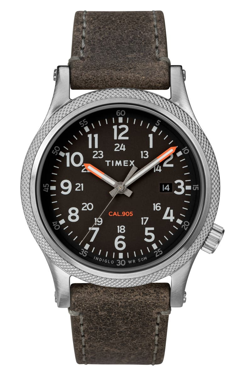 TIMEX<SUP>®</SUP> Allied Leather Strap Watch, 40mm, Main, color, 020