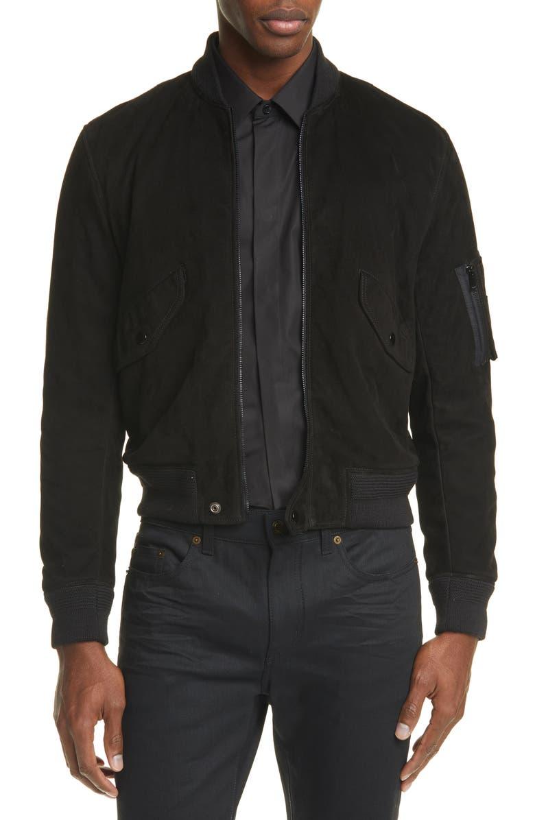 SAINT LAURENT Suede Bomber Jacket, Main, color, BLACK