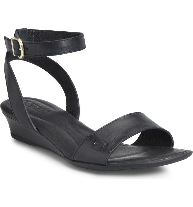 BØRN Sevier Wedge Sandal, Main, color, BLACK LEATHER