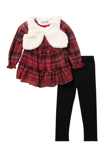 Image of Pastourelle by Pippa and Julie Plaid Top, Faux Fur Vest, & Leggings Set