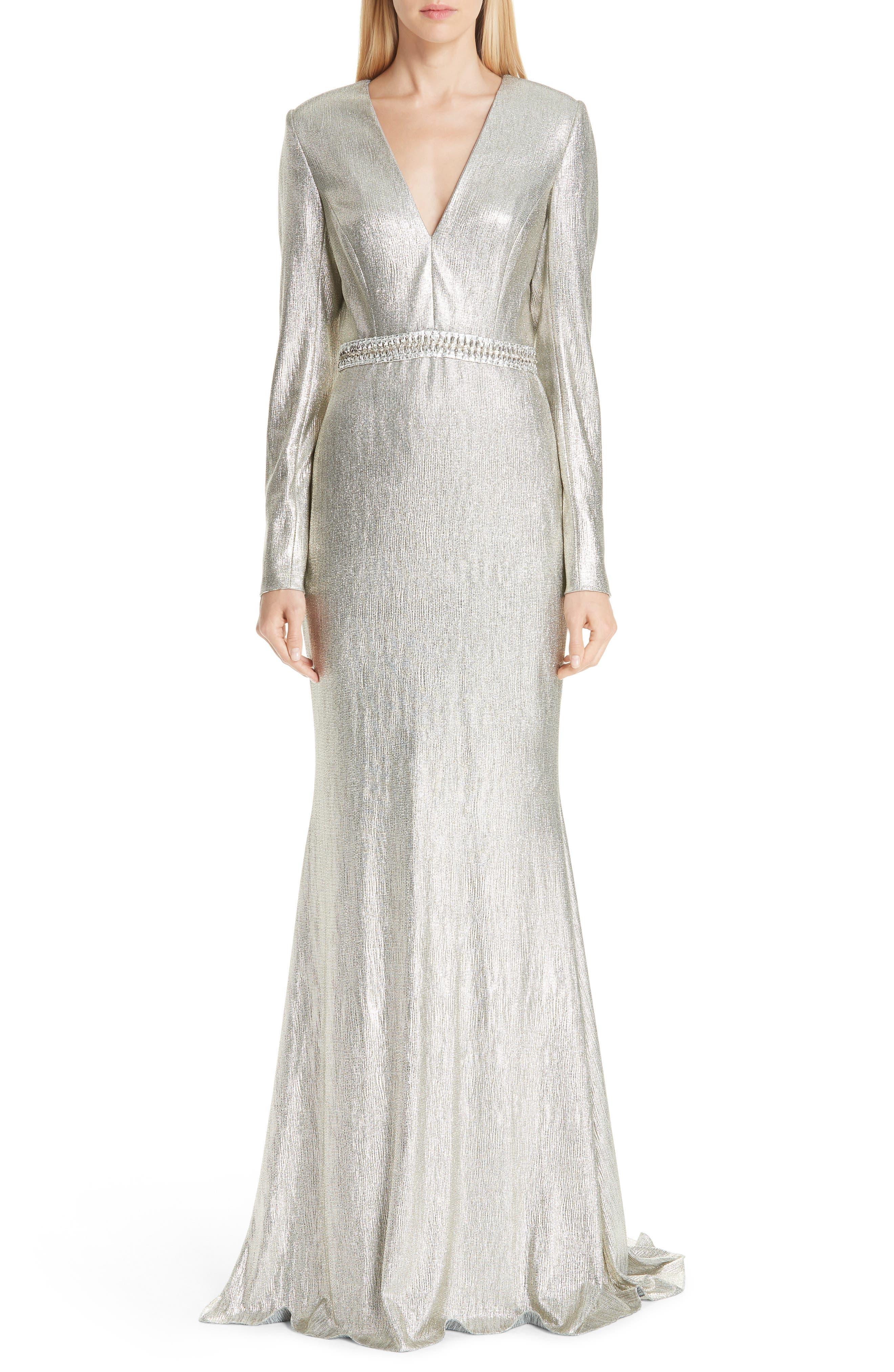 Badgley Mischka Collection Beaded Waist Metallic Gown, Metallic