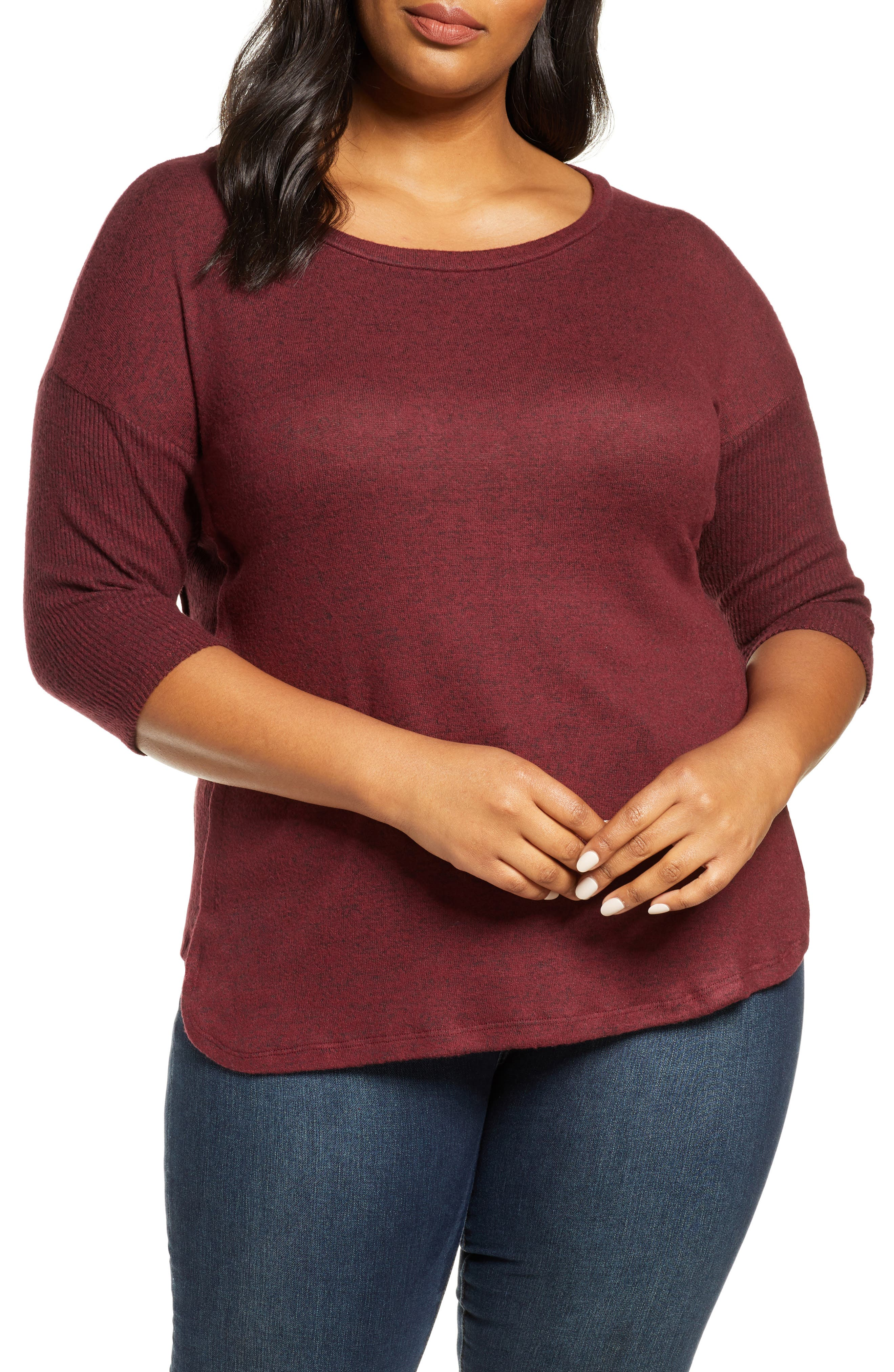 Ribbed sleeves and side panels softly structure this brushed, aptly named top that\\\'s exactly what your weekend needs. Style Name: Bobeau Renee Cozy Rib Contrast Detail Top (Plus Size). Style Number: 5954502. Available in stores.
