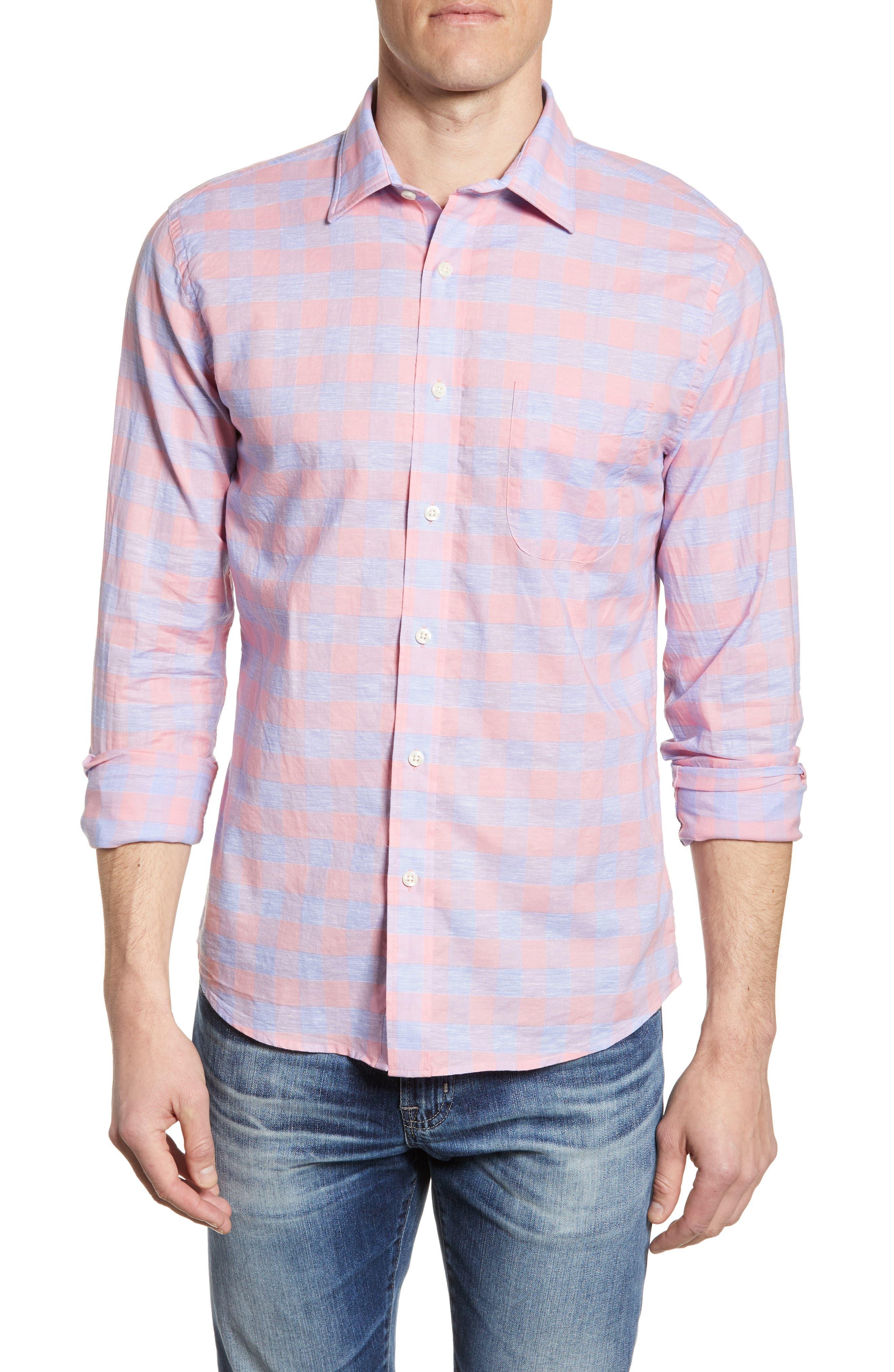 Faherty Summer Blend Regular Fit Buffalo Check Sport Shirt, Pink