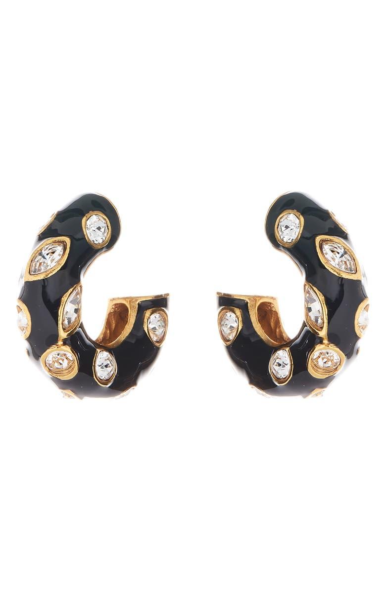 OSCAR DE LA RENTA Crystal Detail Enamel Hoop Earrings, Main, color, BLACK