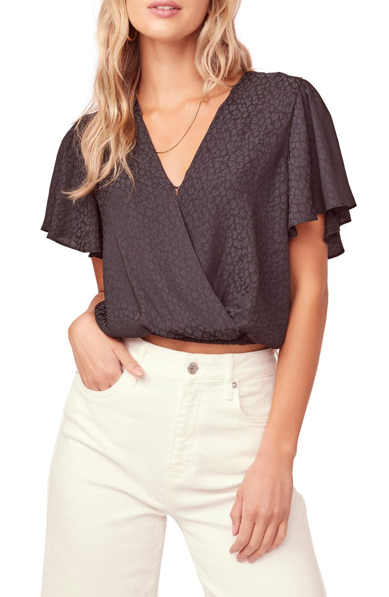 ASTR THE LABEL Short Sleeve Jacquard Top, Main, color, BLACK