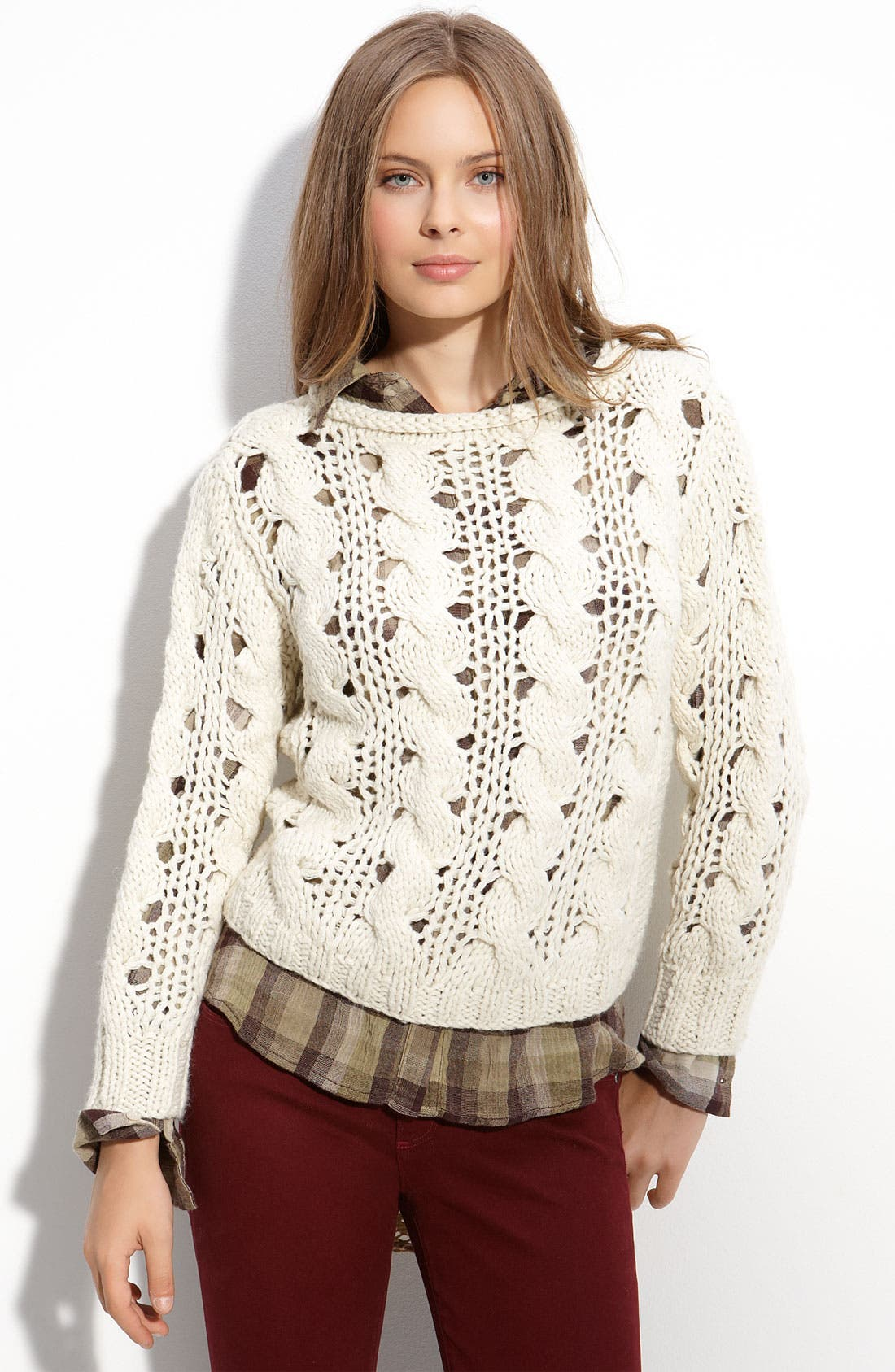 ,                             Cable Knit Sweater,                             Main thumbnail 3, color,                             903