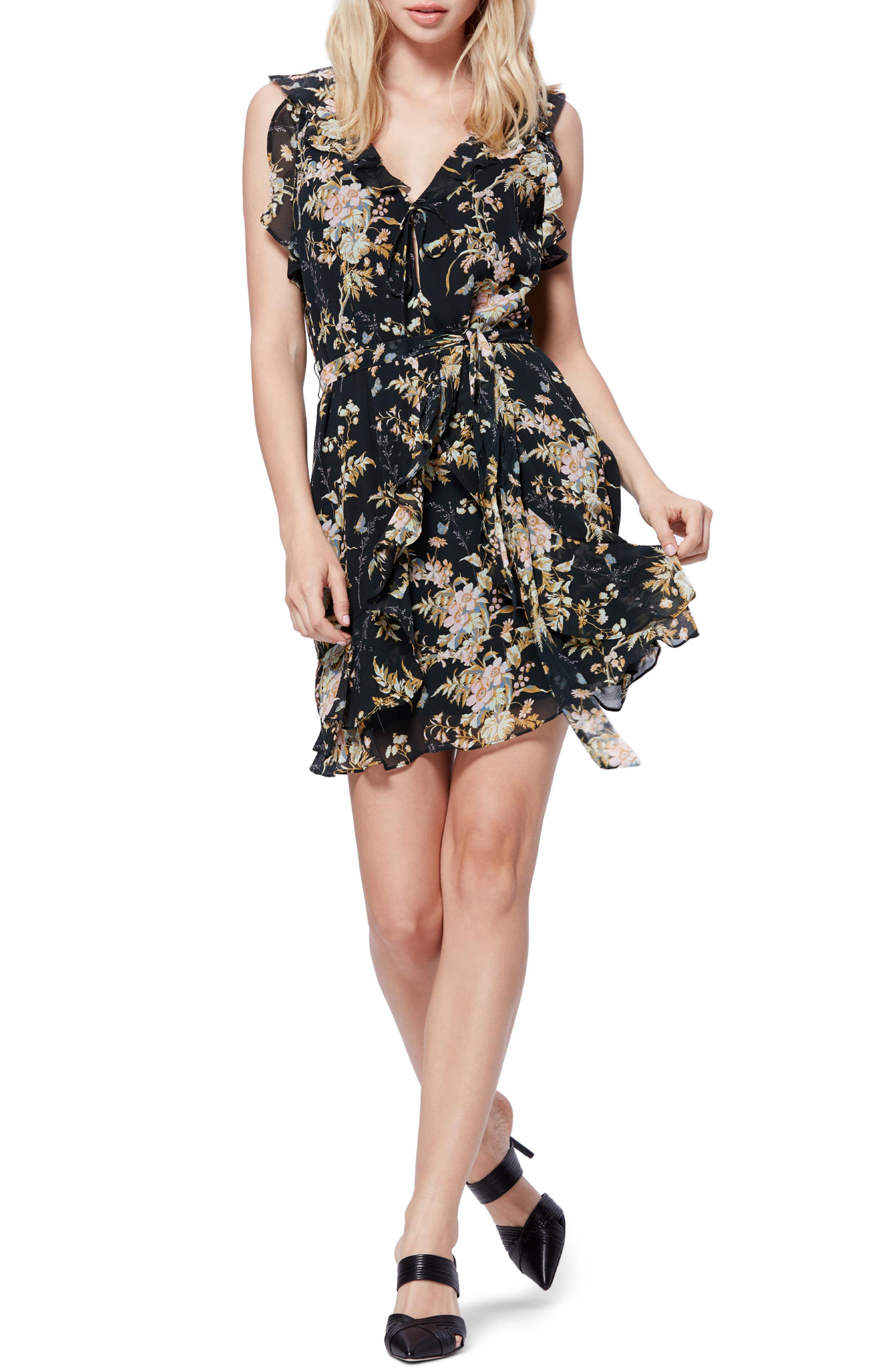 Paige Tia Silk Dress, Black