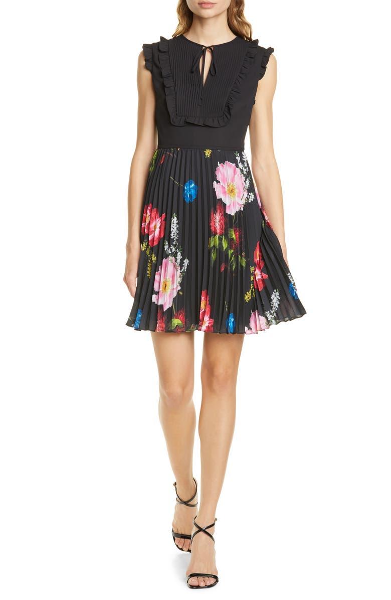 TED BAKER LONDON Romanna Floral Pleat Dress, Main, color, BLACK