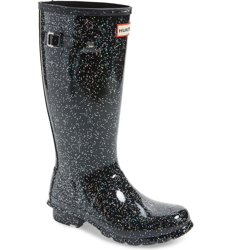 HUNTER Original Giant Glitter Waterproof Rain Boot, Main, color, 001