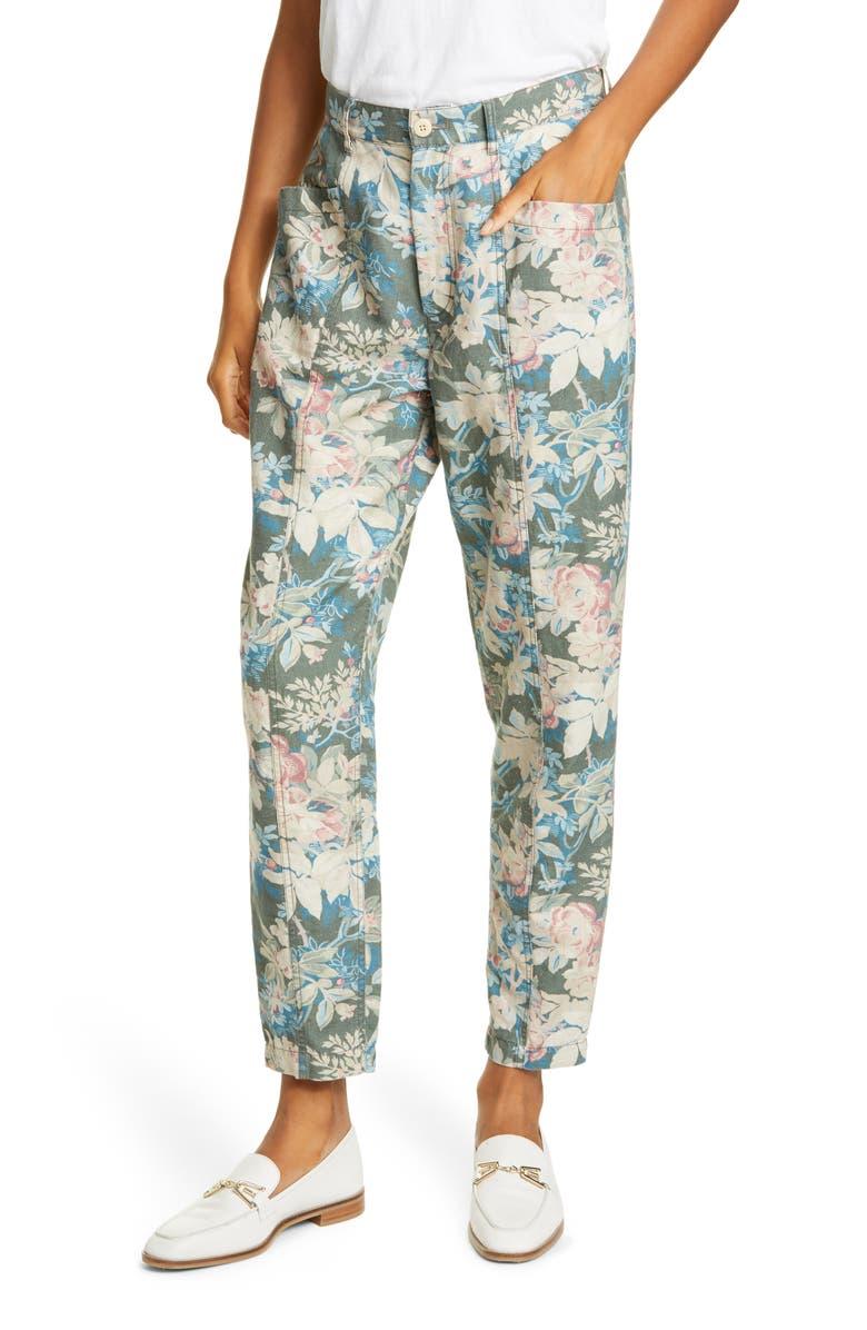 REBECCA TAYLOR Fleur Forêt Cotton & Linen Pants, Main, color, ZINC COMBO