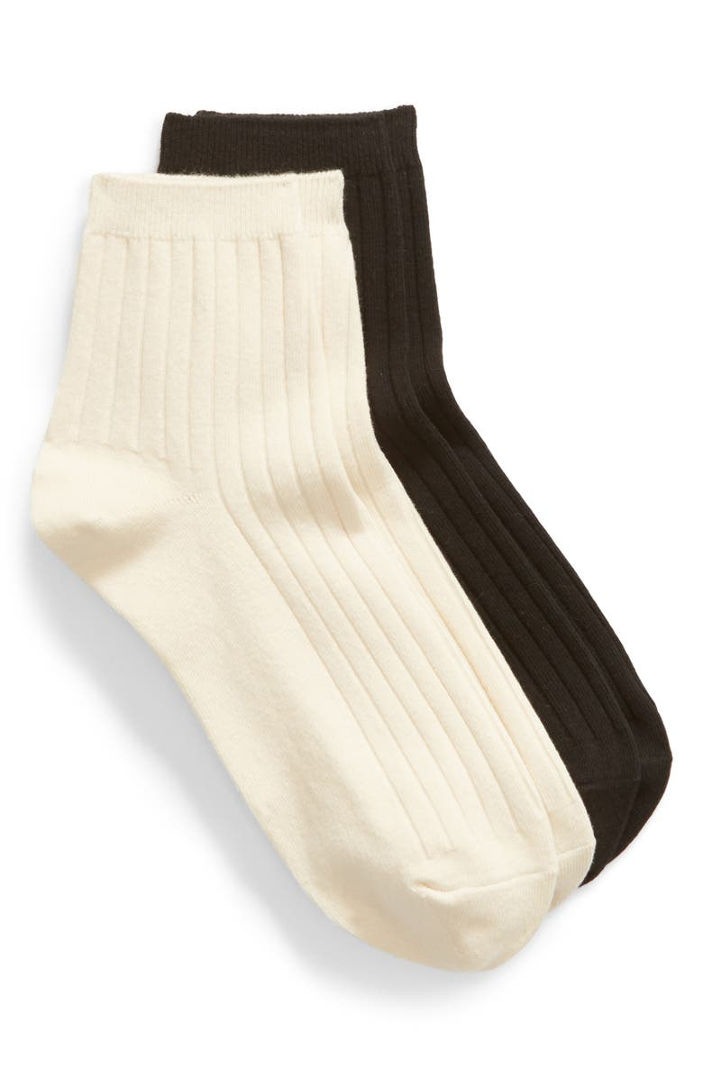 2 Pack Ribbed Heather Ankle Socks by Madewell
