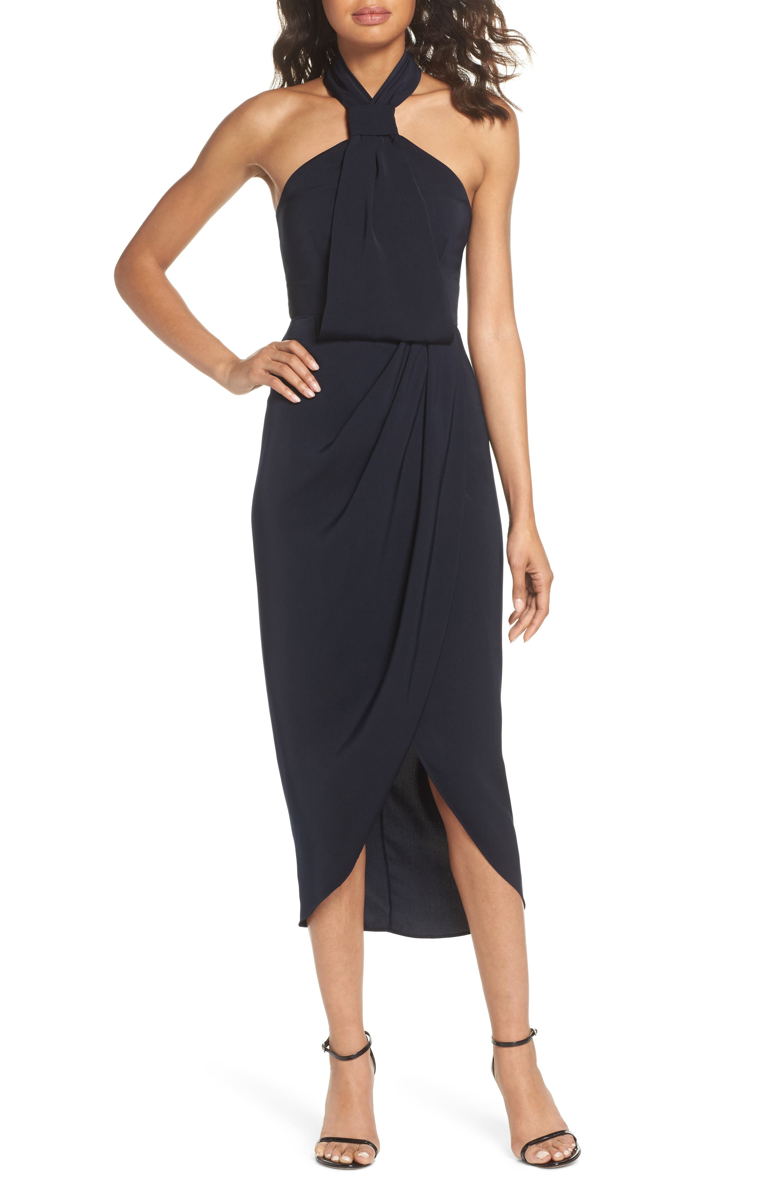 Shona Joy Knotted Tulip Hem Midi Dress, Blue