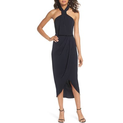 Shona Joy Knotted Tulip Hem Midi Dress, Blue