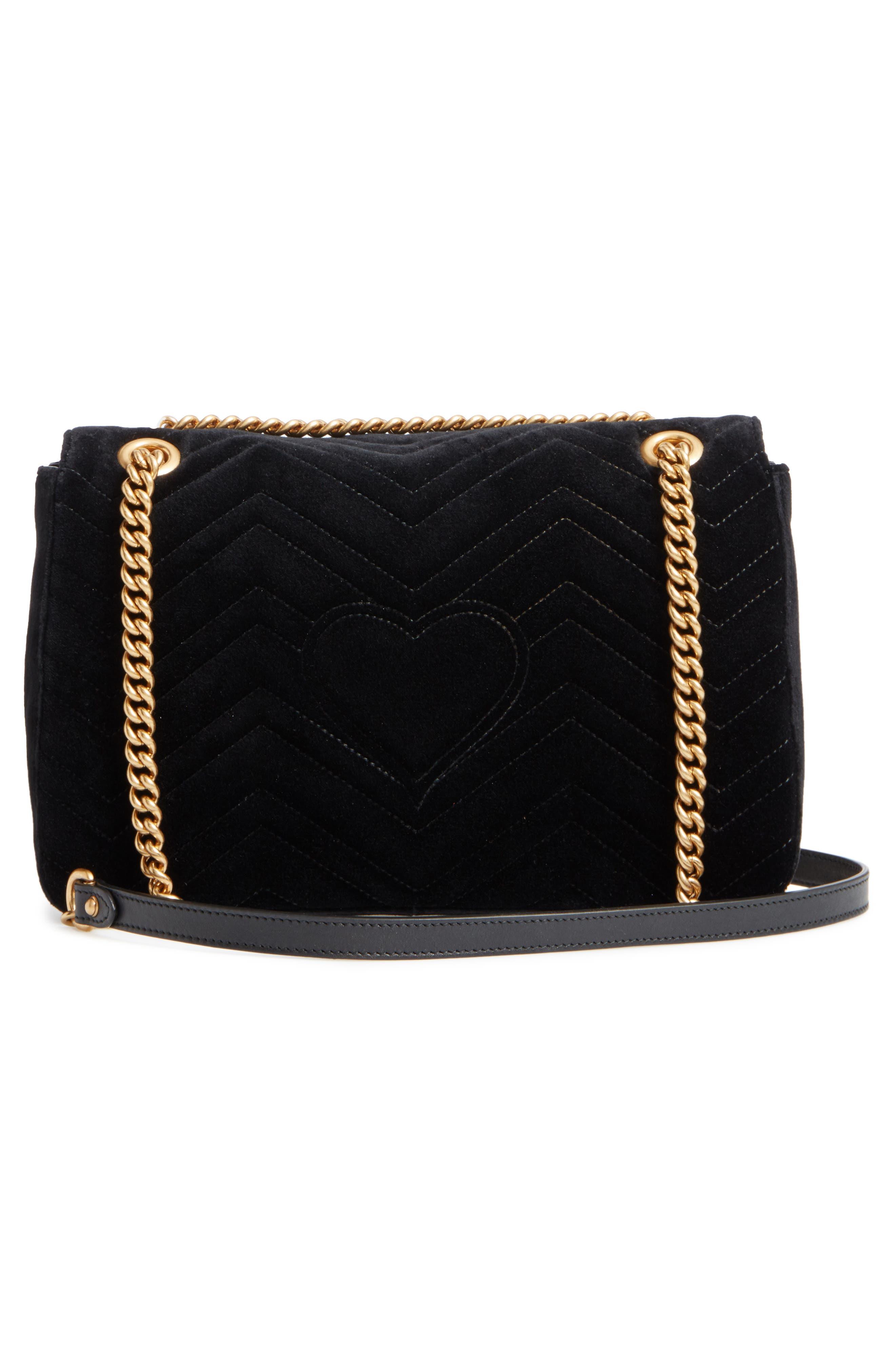 ,                             Medium GG Marmont 2.0 Matelassé Velvet Shoulder Bag,                             Alternate thumbnail 3, color,                             NERO