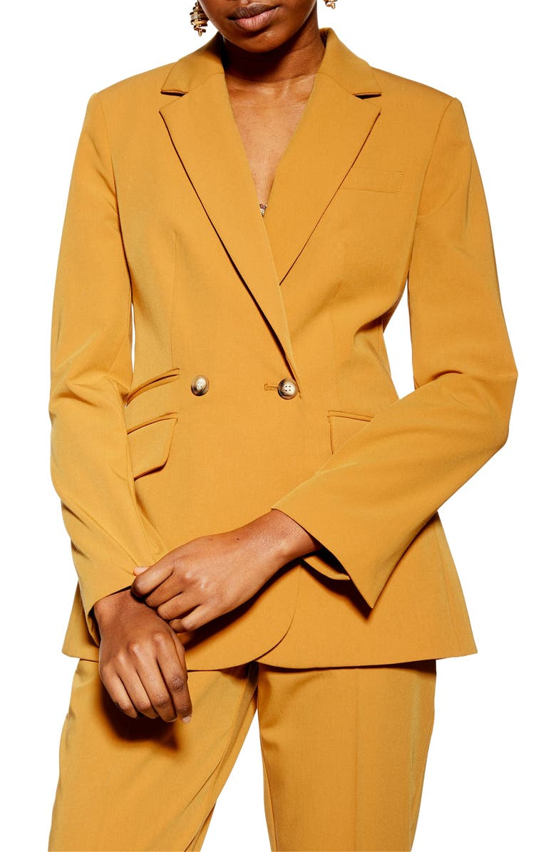 TOPSHOP Double Breasted Jacket, Main, color, MUSTARD