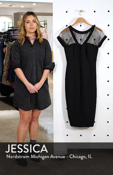 Illusion Yoke Crepe Sheath Dress, sales video thumbnail