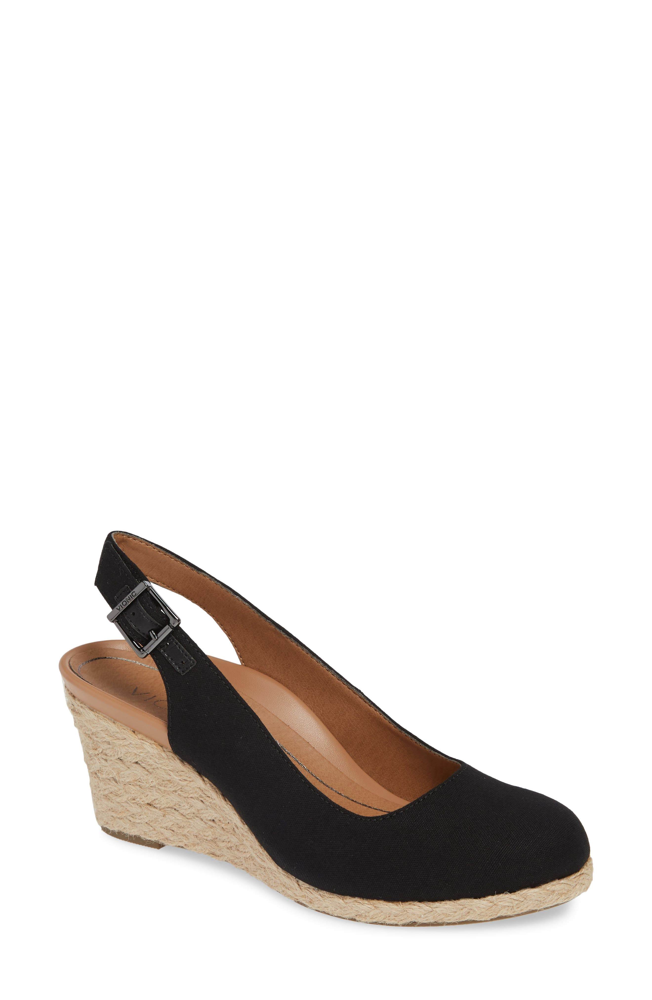 ,                             Coralina Orthaheel<sup>®</sup> Espadrille Wedge Slingback Sandal,                             Main thumbnail 1, color,                             BLACK CANVAS