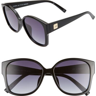 Le Specs Athena 5m Special Fit Oversized Sunglasses - Black/ Smoke