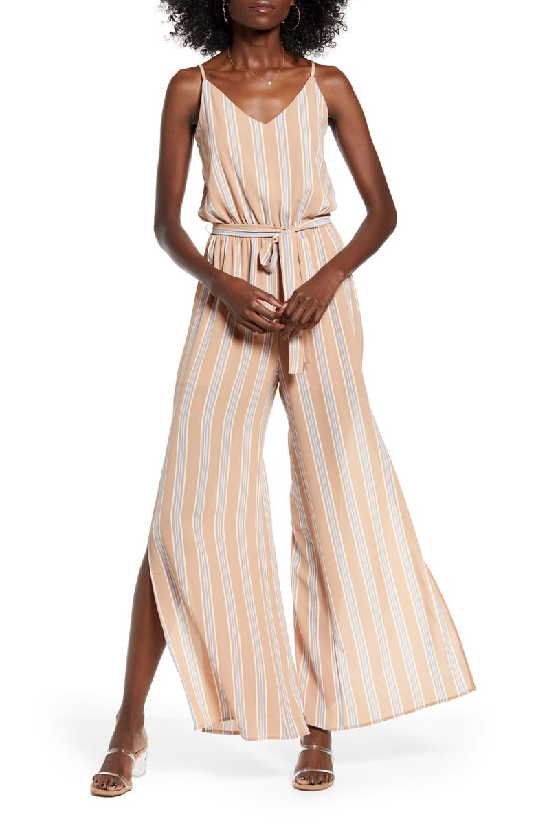 ONE CLOTHING Sleeveless Tie Waist Jumpsuit, Main, color, TAUPE/ BLUE