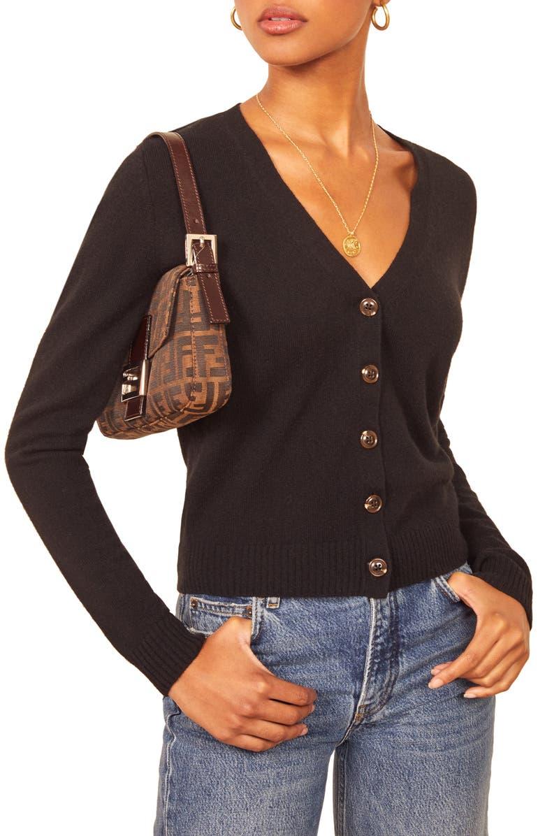 REFORMATION Cashmere Blend Cardigan, Main, color, BLACK