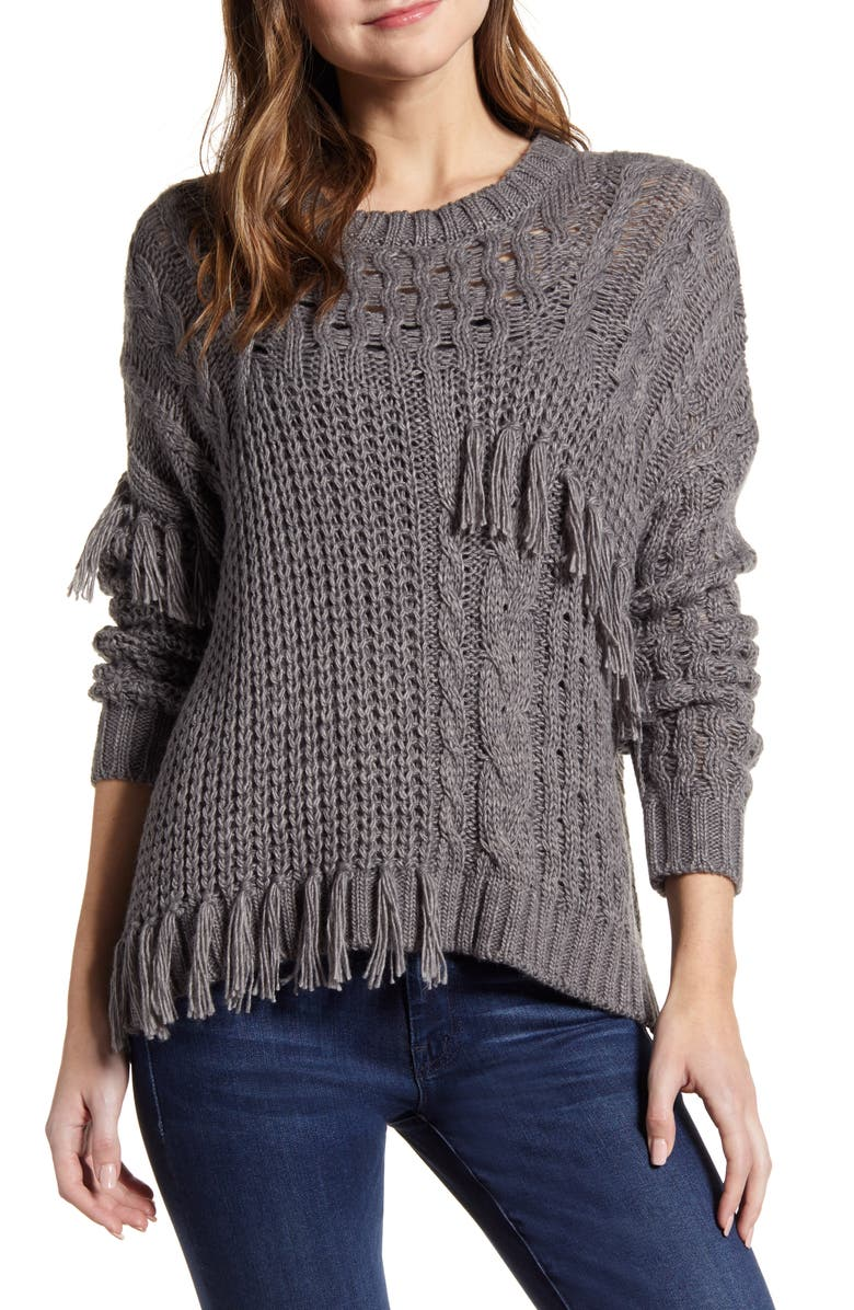 CUPCAKES AND CASHMERE Romy Asymmetrical Cable Knit Sweater, Main, color, MEDIUM HEATHER GREY