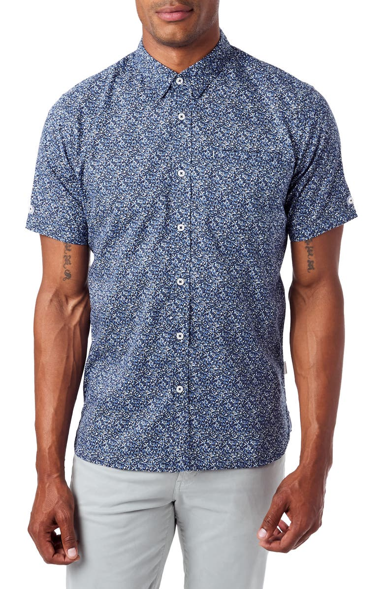 7 DIAMONDS Never Surrender Slim Fit Short Sleeve Button-Down Sport Shirt, Main, color, NAVY