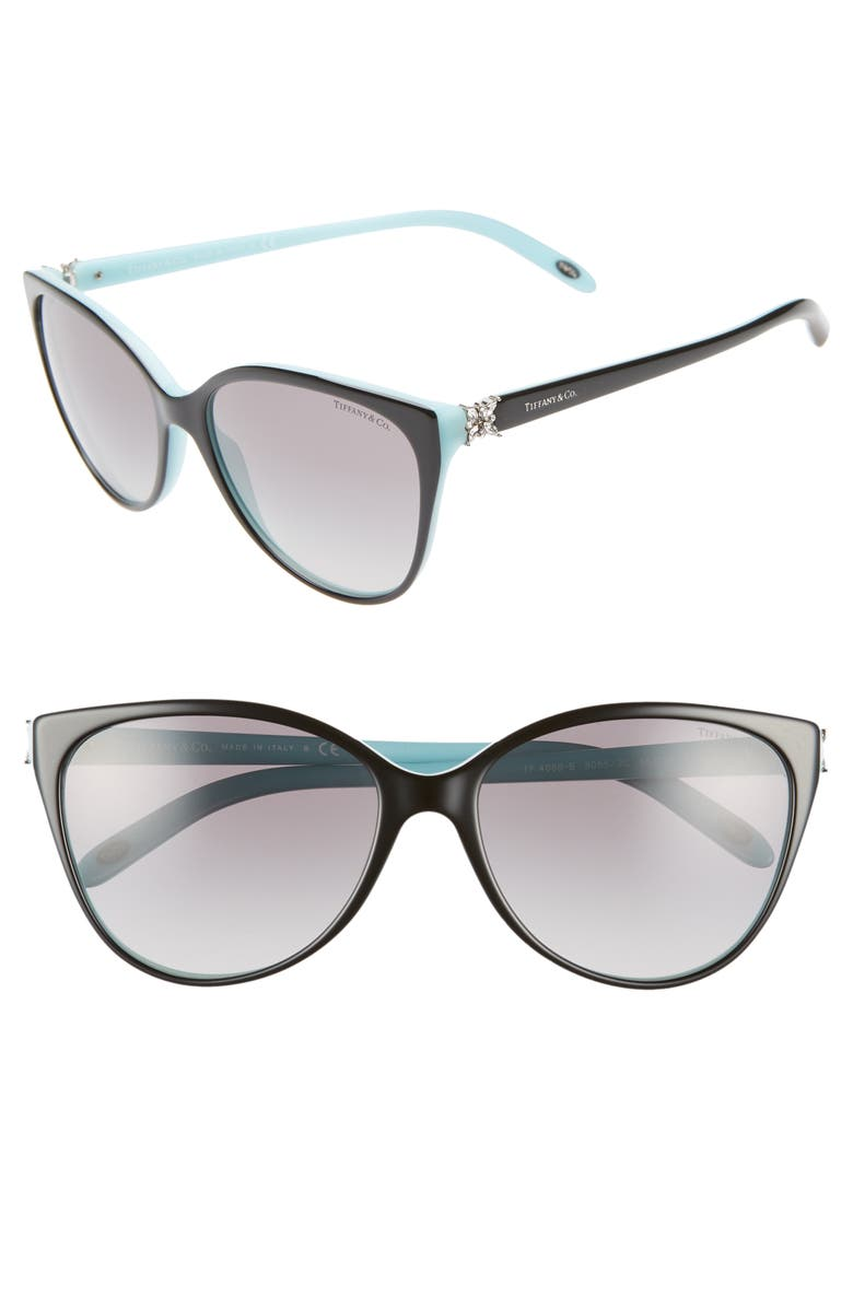 TIFFANY & CO. 58mm Gradient Cat Eye Sunglasses, Main, color, BLACK/ BLUE/ BLACK GRADIENT