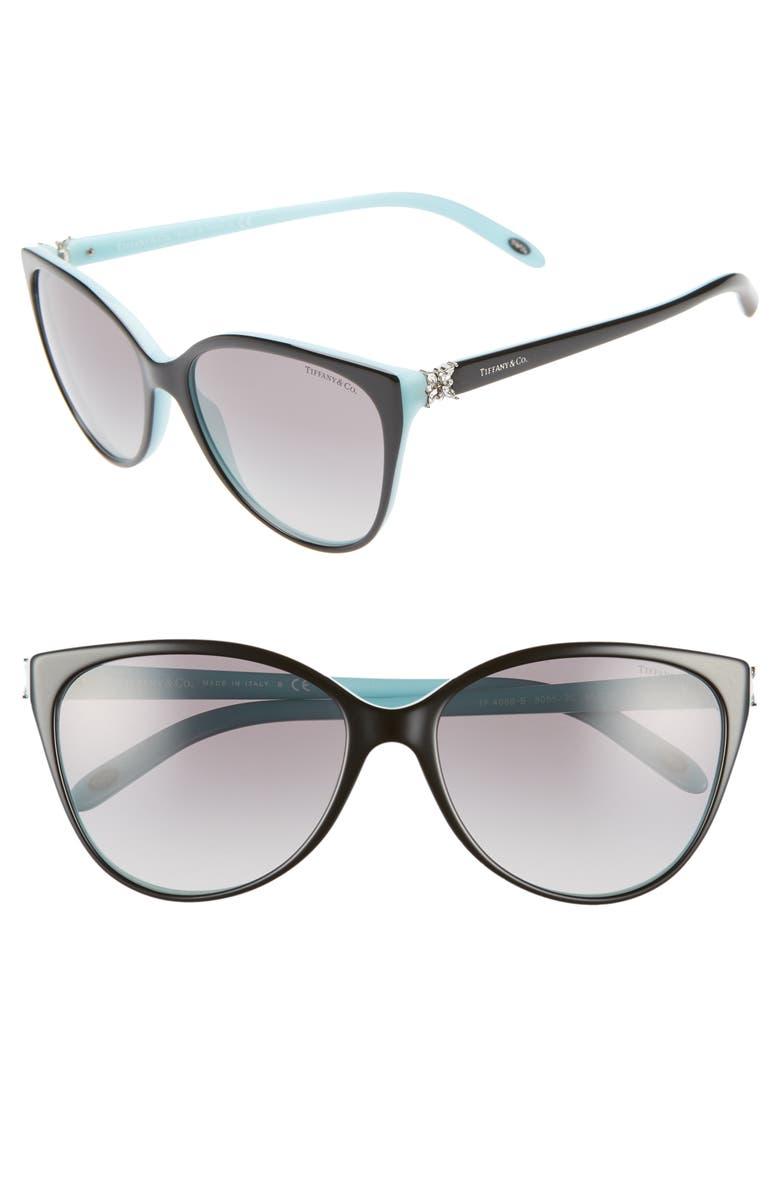 5b9a5e6cbf7a 58mm Gradient Cat Eye Sunglasses, Main, color, BLACK/ BLUE/ BLACK GRADIENT