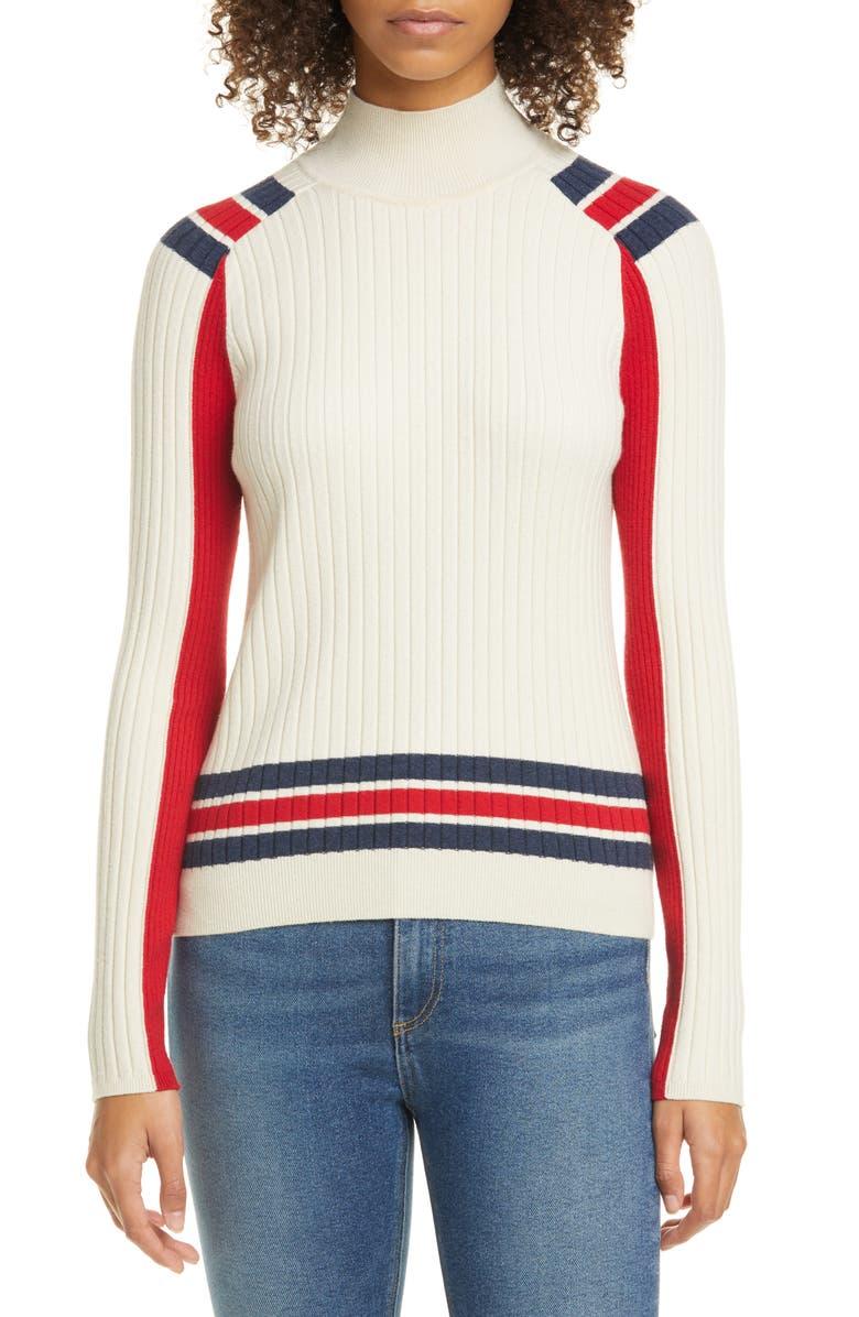 RAG & BONE Julee Stripe Ribbed Mock Neck Wool Blend Sweater, Main, color, LIGHT DOVE