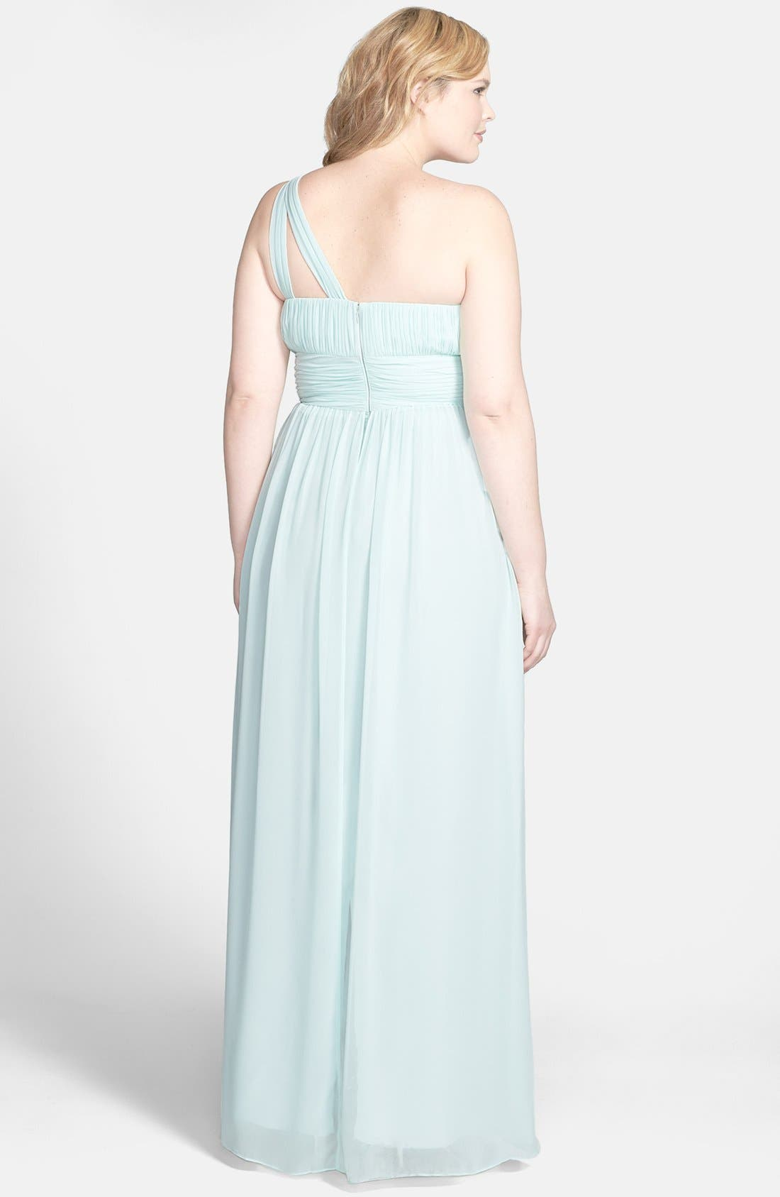 ,                             'Rachel' Ruched One-Shoulder Chiffon Gown,                             Alternate thumbnail 51, color,                             338