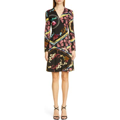 Etro Mixed Floral Long Sleeve Wool Jersey Dress, US / 42 IT - Black