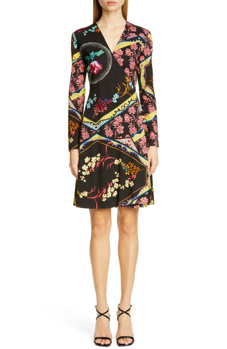 ETRO Mixed Floral Long Sleeve Wool Jersey Dress, Main, color, 001