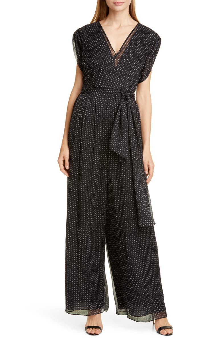 DVF Cassandra Print Silk Jumpsuit, Main, color, 001
