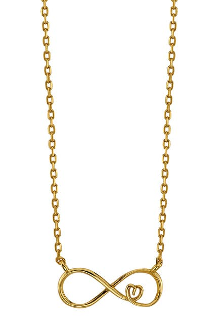 Image of LA Rocks Yellow Gold Plated Sterling Silver Infinity & Heart Pendant Necklace