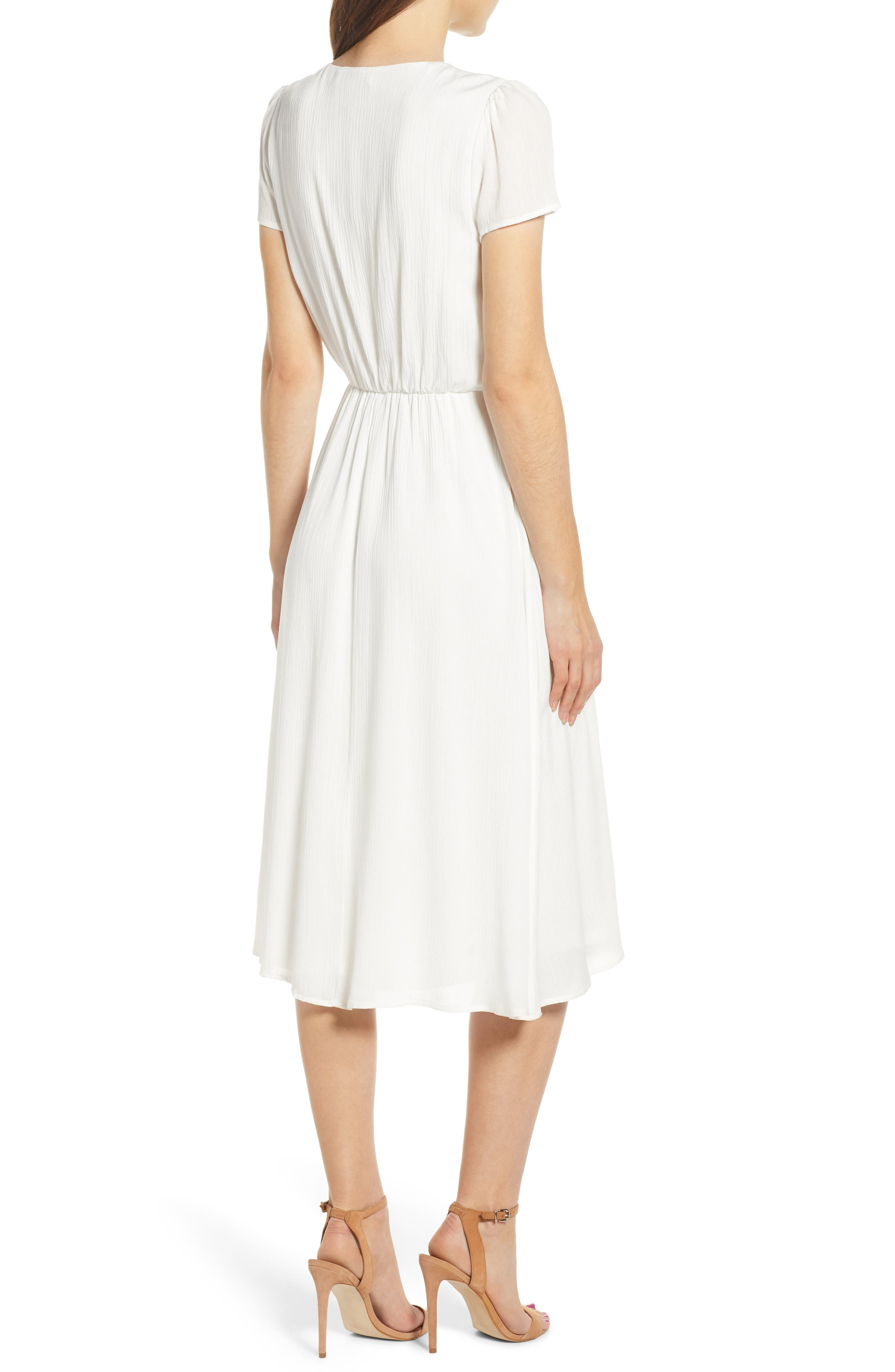 ,                             Blouson Midi Dress,                             Alternate thumbnail 2, color,                             WHITE