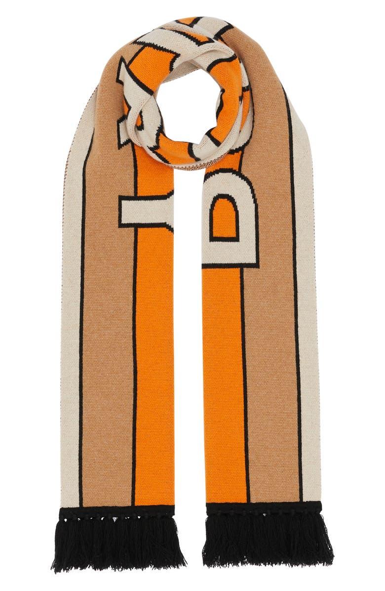 BURBERRY Stripe Logo Cashmere Scarf, Main, color, WARM CAMEL