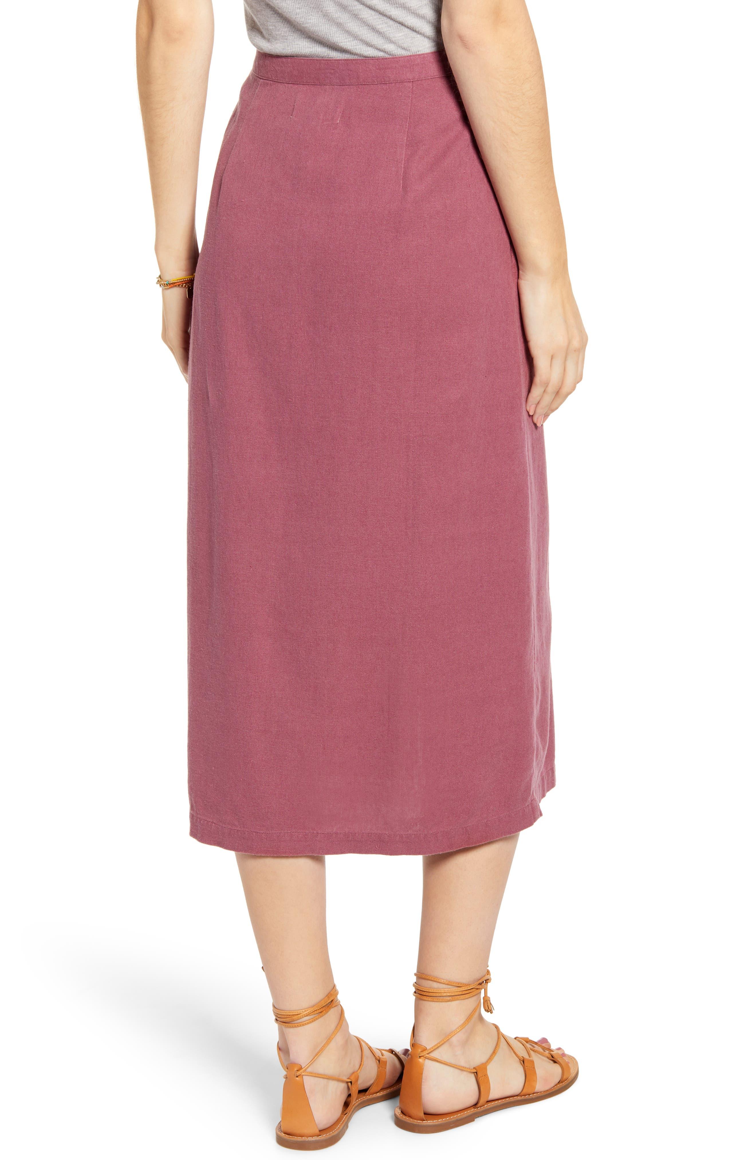 ,                             Button Front Linen Blend Midi Skirt,                             Alternate thumbnail 2, color,                             BURGUNDY CRUSH