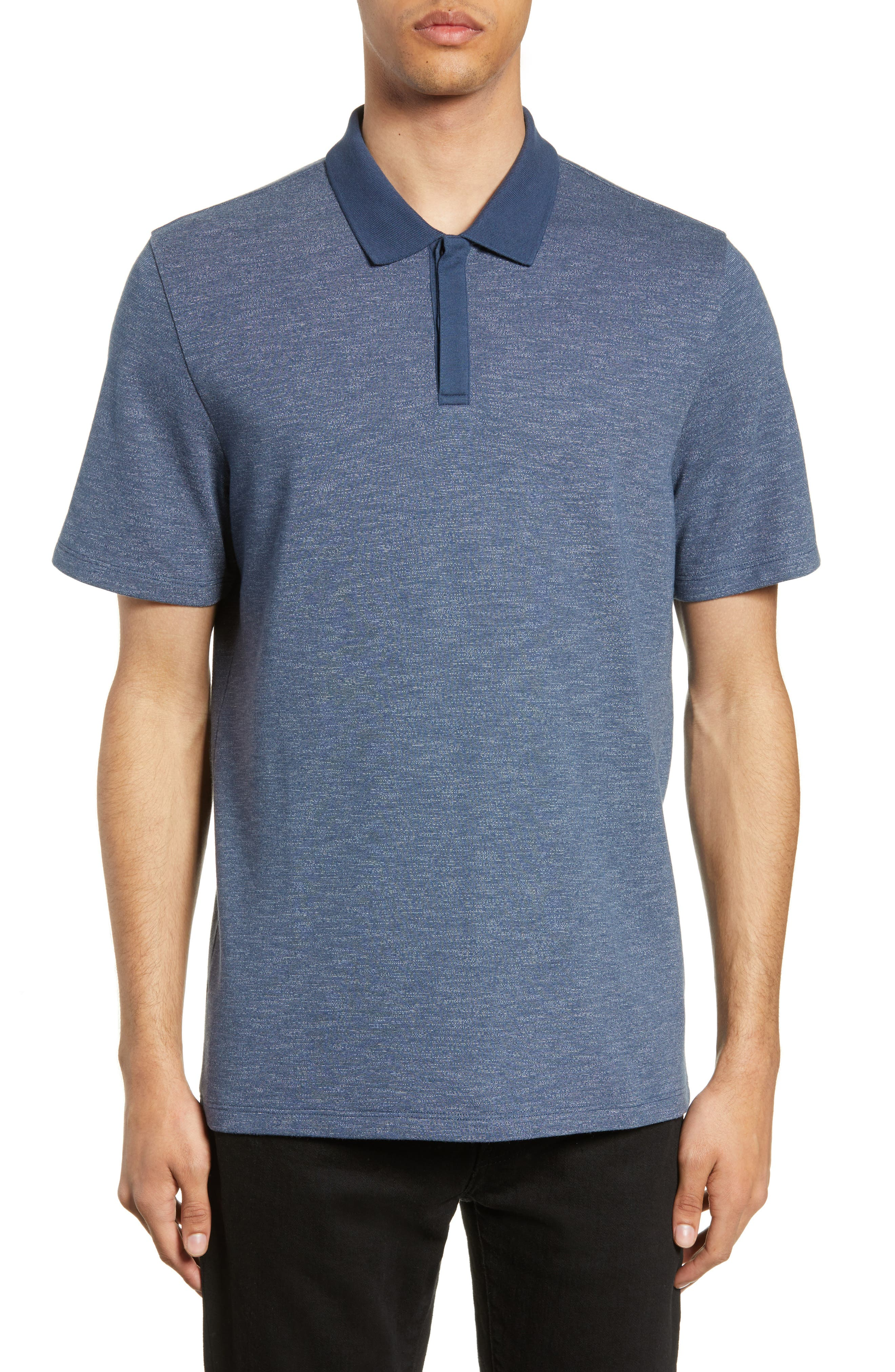 ,                             Mercerized Double Faced Jersey Polo,                             Main thumbnail 1, color,                             BLUE OASIS