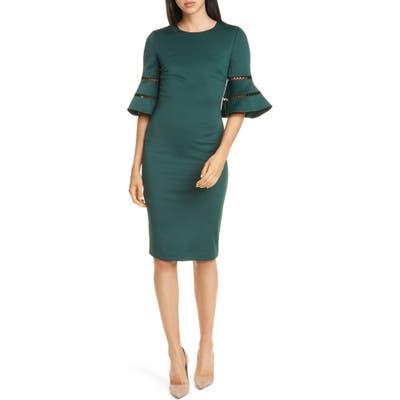 Ted Baker London Filnio Bell Sleeve Body-Con Dress, Green